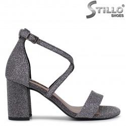 Sandale pentru banchet cu brocart de culoare gri - 36280