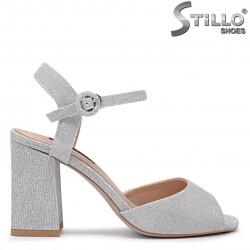 Sandale dama de culoare argintiu cu toc inalt - 36281