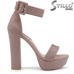 Sandale dama pentru banchet de culoare scrum de trandafiri- 36286