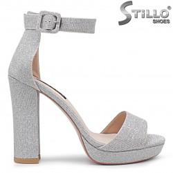 Sandale dama de culoare argintiu cu platforma si toc inalt - 36287