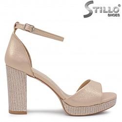 Sandale dama pentru banchet cu brocart si cu toc inalt - 36290
