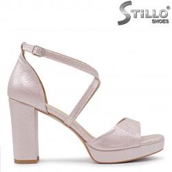 Sandale dama de culoare roz cu platforma si toc gros inalt - 36291