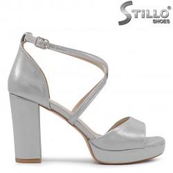 Sandale dama pentru banchet de culoare gri cu toc inalt - 36292
