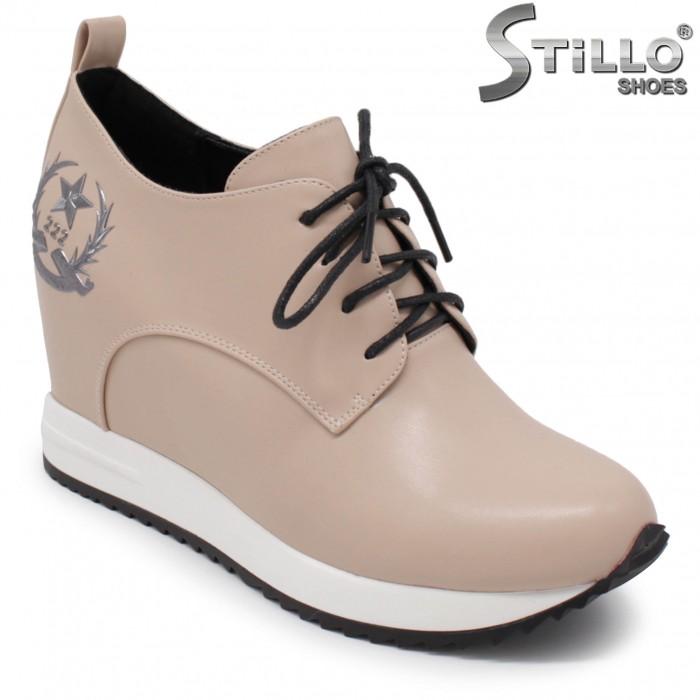 Pantofi dama sport eleganti pe platforma de culoare bej - 36304