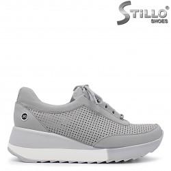 Pantofi sport dama de culoare gri pe platforma - 36311