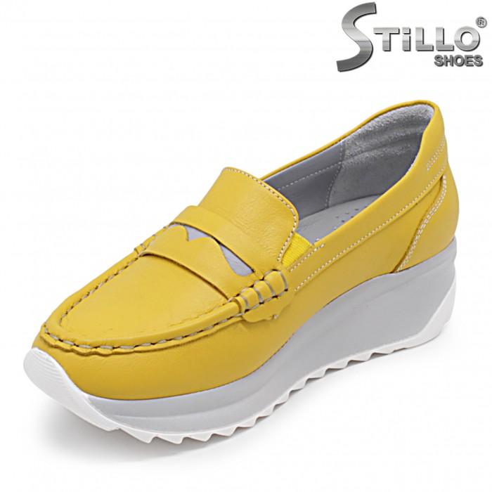 Mocasini dama de culoare galben pe platforma - 36315