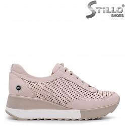 Pantofi dama sport de culoare roz cu sireturi si platforma - 36323