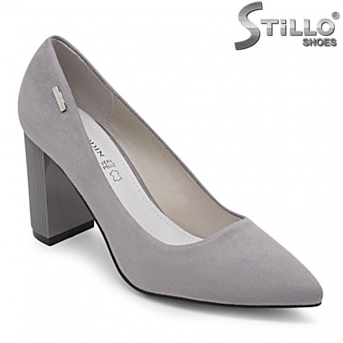 Pantofi dama de culoare gri cu toc- 36345