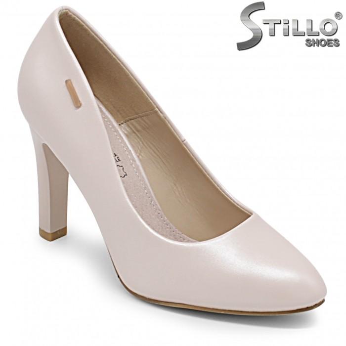 Pantofi dama cu toc de culoare bej perlat – 36346