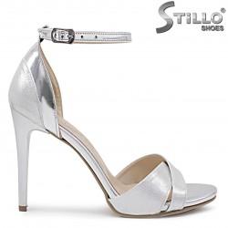 Sandale dama argintii cu toc inalt – 36364