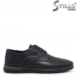 Pantofi barbati din piele naturala de culoare albastru – 36365