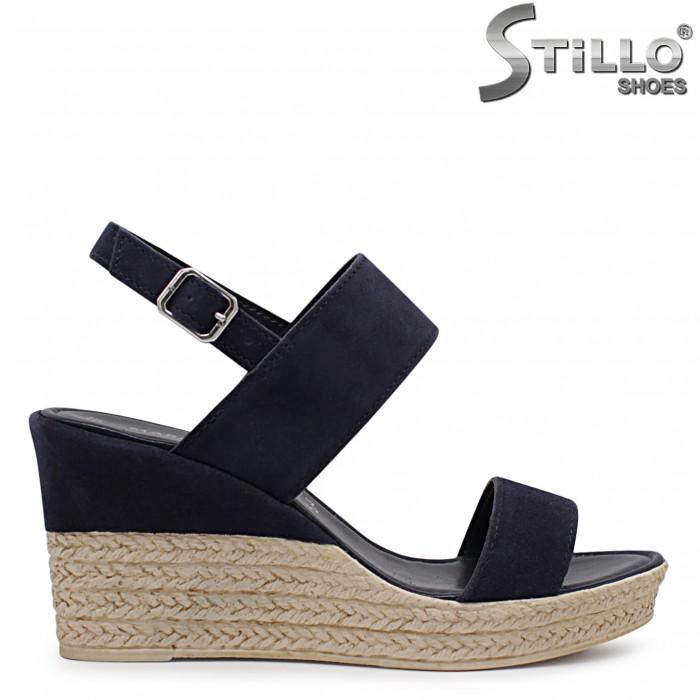 Sandale dama de culoare albastru cu platforma MARCO TOZZI din velur natural – 36503