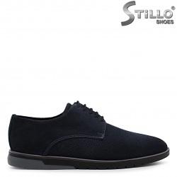 Pantofi barbati de culoare albastru din velur natural si cu perforatie – 36540