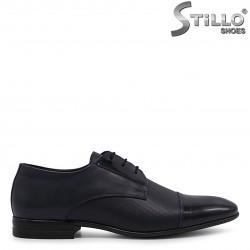 Pantofi barbati de culoare albastru din piele naturala si lac – 36548