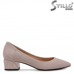 Pantofi dama din piele naturala de culoare scrum de trandafiri  - 36556