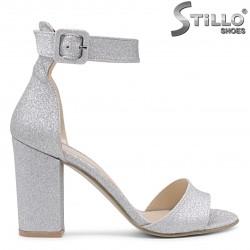 Sandale dama argintii cu toc inalt – 36557