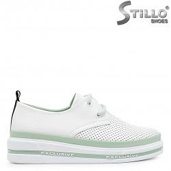 Pantofi  dama sport de culoare alb din piele naturala si cu sireturi– 36563