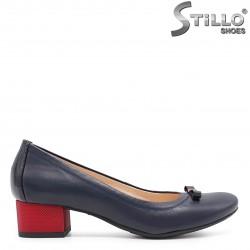 Pantofi dama eleganti de culoare albastru si cu toc rosu – 36621