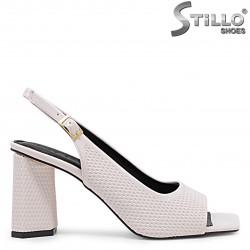 Sandale dama de culoare bej perlat si cu toc - 36650