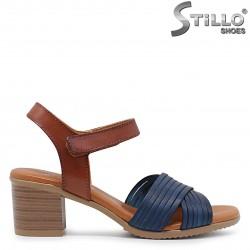 Sandale dama  cu toc de culoare albastru si maro – 36690