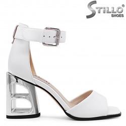 Sandale dama de culoare alb cu toc modern  - 36718