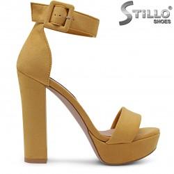 Sandale dama elegante din velur de culoare galben - 36768