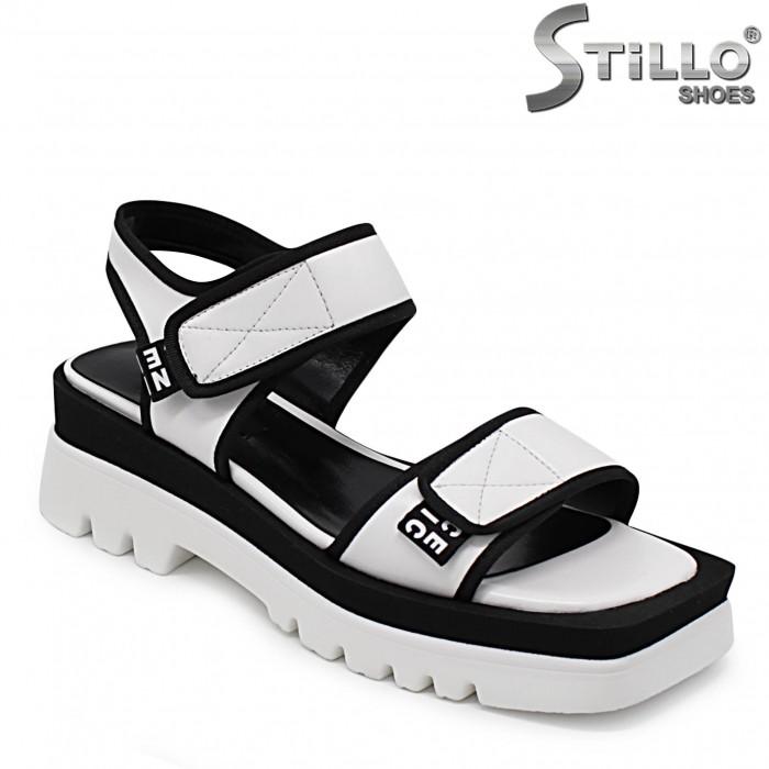 Sandale sport de culoare alb si negru pe platforma – 36777