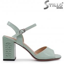 Sandale dama de culoare menta si cu toc gros  - 36781
