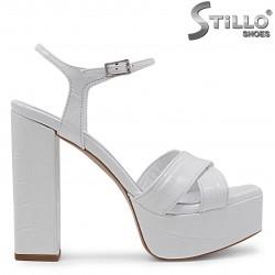 Sandale albe cu toc si platforma din piele naturala  – 36794