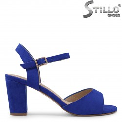 Sandale dama de culoare albastru din velur si cu toc inalt – 36875