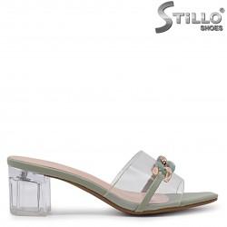 Papuci din silicon cu toc transparent – 36906