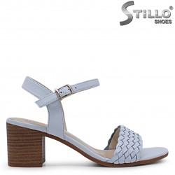 Sandale dama de culoare albastru din piele  naturala si cu toc – 36975