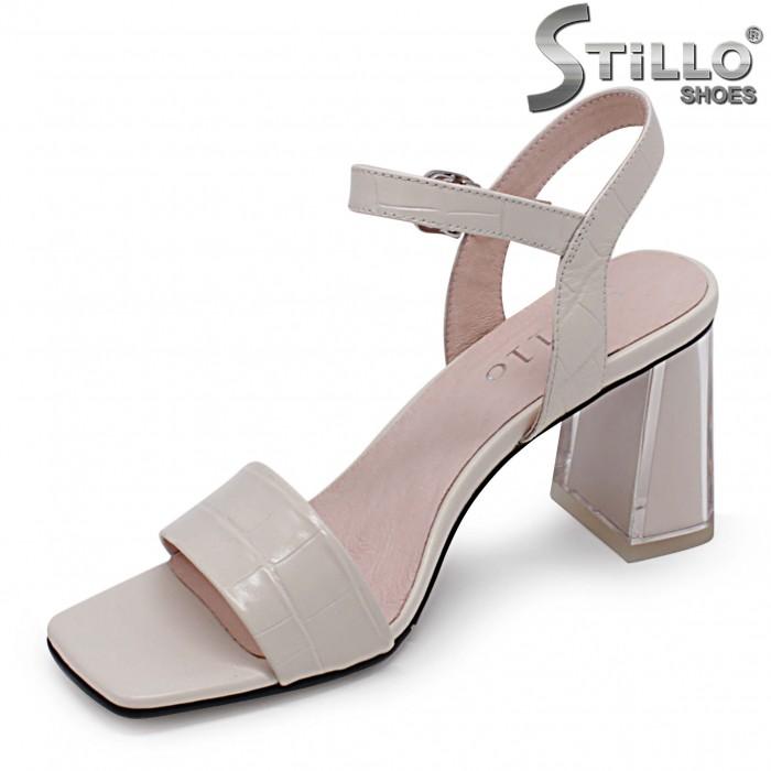 Sandale dama din  lac croco natural si cu toc  – 36987