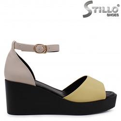 Sandale dama pe platforma de culoare bej si galben  – 36961