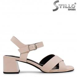 Sandale dama de culoare bej cu toc mijlociu – 37044