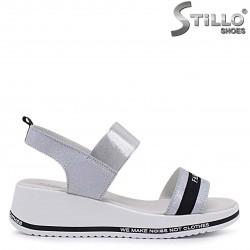 Sandale dama cu brocart din piele naturala de culoare argintiu – 37083