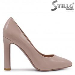 33, 34 Marimi -Pantofi dama din lac cu toc inalt de culoare pudra – 37092
