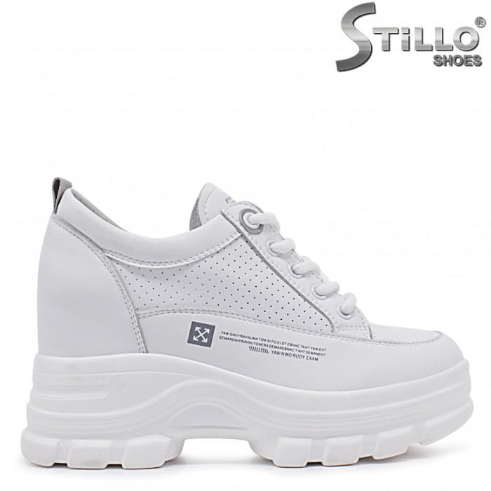 Sneakers dama de culoare alb din piele naturala si cu imprimanta – 37098