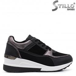 Pantofi sport de dama cu platforma de culoare negru si bronz – 37132