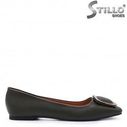 Pantofi dama cu toc jos de culoare verde  - 37183