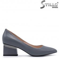 Pantofi dama de culoare gri din piele naturala si cu toc– 37217
