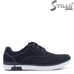 Pantofi sport barbati din piele naturala de culoare albastru – 37361