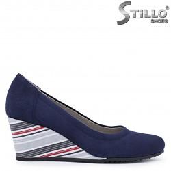 Pantofi dama de culoare albastru si cu toc inclinat - 37500