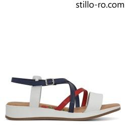 Sandale fara toc in alb, albastru si rosu din piele naturala - 28753