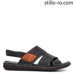 Sandale de barbat de zi cu zi din piele naturala in negru - 29019